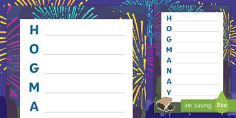Hogmanay Acrostic Poem Activity Sheet - New Year, Scotland, Scottish, Celebrations, Events,Scottish, Worksheet