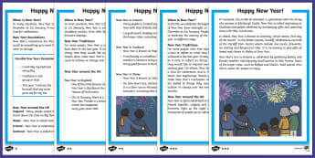KS1 New Year Differentiated Reading Comprehension Activity - KS1/2 New Year resources (January), 31st, 1st, December, January, resolution, celebration, new, new