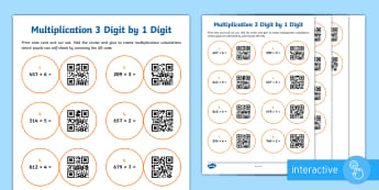 Multiplying 3 Digit by 1 Digit Numbers Code Hunter - QR Codes, maths, multiplication