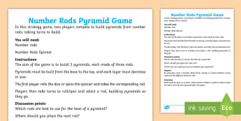 Number Rods Pyramids Board Game - cuisenaire rods, number rods, game, strategy, compare, size, logic, visual aids,
