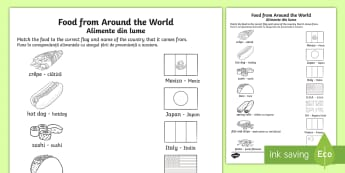 Food From Around the World Matching Activity Sheet English/Romanian - food, around the world, matching, activity, match, sheet, mathching, worksheet, EAL