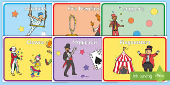 Circus Group Signs -  Circus Group Signs - circus, clown, juggler, acrobats, big top, group signs, group labels, group ta