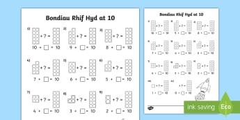Taflen Weithgaredd Bondiau Rhif Hyd at 10 - bondiau rhif, numicon, rhifedd, gwerth lle, number bonds,Welsh-translation
