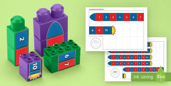 Number Rocket to 10 Connecting Bricks Game - EYFS, duplo, lego, Early Years, KS1, Connecting Bricks Resources, plastic bricks, building bricks, s