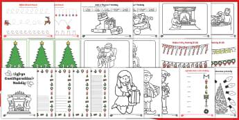 Clawr Llyfryn Gweithgareddau'r Nadolig - llyfryn, book, lliwio, colouring, Gwyl Nadolig, Christmas Festival, darllen, reading