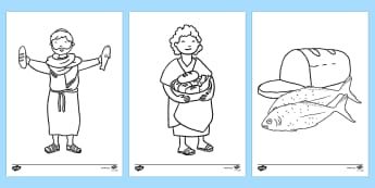 The Loaves And Fishes Story Coloring Sheets - usa, america, the Loaves and the Fishes, loaves, fishes, Jesus, food, colouring, fine motor skills, poster, worksheet, vines, A4, display, the feeding of the five thousand, crowd, feeding, God, teaching,
