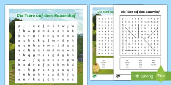 Farm Animals Word Search German - Animals, Tiere, Bauernhof, Farm Animals, German, MFL, DAF, DAZ