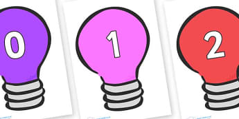 Numbers 0-100 on Lightbulbs (Multicolour) - 0-100, foundation stage numeracy, Number recognition, Number flashcards, counting, number frieze, Display numbers, number posters