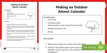 Outdoor Advent Calendar Step-by-Step Instructions - advent, christmas, rme, religion, seasons, winter, outdoor learning,Scottish