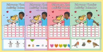 February Phonics Activity Calendar PowerPoint Pack - phonics, calendar, monthly, february, reading, spelling, sorting, tricky words, letters and sounds,