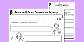 Formal and Informal Conversational Language Worksheet / Activity Sheet  - formal, informal, conversational, language, activity, sheet, worksheet