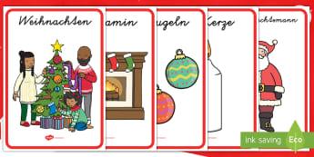 Weihnachten Poster für die Klassenraumgestaltung-German - Weihnachtlich, Dezember, Advent, Wortschatz, Dekoration,,German