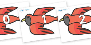 Numbers 0-50 on Red Bird to Support Teaching on Brown Bear, Brown Bear - 0-50, foundation stage numeracy, Number recognition, Number flashcards, counting, number frieze, Display numbers, number posters