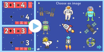 Space Themed Addition PowerPoint - space, addition, adding, plus, powerpoint, addition powerpoint, maths, numeracy, numeracy powerpoint, themed addition