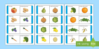 Fruit and Vegetables Loop Cards Gaeilge - Glasraí, Torthaí, Bia, Irish, Food, glasrai, torthai,