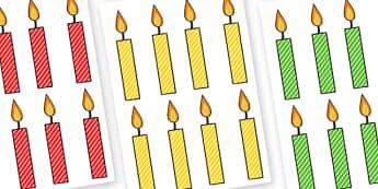 Editable Multicoloured Candles Stripes - editable, image, editable image, editable candles, multicoloured candles, editable picture, editable display image, display, display picture