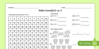 Tabla înmulțirii cu 5 - Fișă de lucru - tabla înmulțirii, înmulțiri, matematică, înmulțire, fișe, fișe de lucru,Romanian