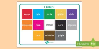 Nomi dei Colori Vocabolario Illustrato - i, colori, vocaboalrio, illustrato, vocaboli, nomi, italiano, italian, materiale, scolastico