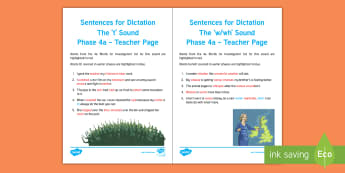 Northern Ireland Linguistic Phonics Stage 5 and 6, Phase 4a, 't' and 'w/wh' Dictation Sentences Activity Sheets - NI, Irish, Investigation, Phoneme, Grapheme, Letter, writing, listening