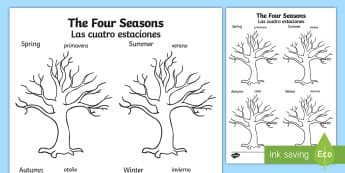 Four Seasons Tree Activity Sheet English/Spanish - worksheet, trees, plants, draw, seaons, tempelte, plnts, templet, EAL,