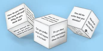 Reading Book Question Prompts Dice Net - dice prompt, reading dice prompt, dice prompt template, reading dice, ks2 reading, reading questions, ks2