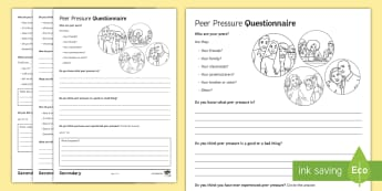 Peer Pressure Questionnaire Activity Sheet - young people, transition, emotions, relationships, behaviour, peer pressure, worksheet