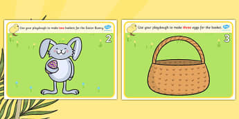 Easter Counting Playdough Mats 1-6 - mat, activity, playdough, play-doh, play doh, easter, counting, counting on, counting back, numeracy, easter counting mat, easter playdough, activity mat, activity, fun, playdough activity mat, themed mat