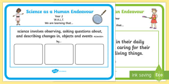 Year 2 Australian Curriculum Science as a Human Endeavour WALT Display Posters - Science, Australian Curriculum, human endeavour, grade 2, year two, WALT, learning outcomes,Australi