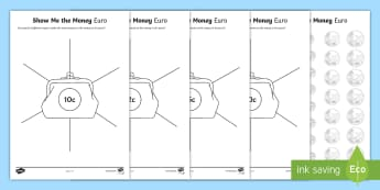 Show Me The Money Euro Activity Sheet - euro, currency, counting, maths mastery, worksheet