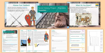 Social History Project Lesson 2: Invasion Lesson Pack - Anglo, Saxon, Viking, Normans, Migration, 1066, William I, Bluetooth, Canute
