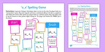 o-e Spelling Board Game