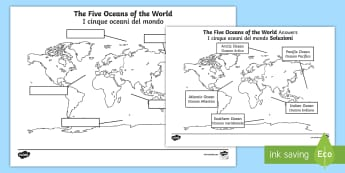 The Five Oceans Labeling Map Activity Sheet English/Italian  - The Arctic, Polar Regions, north pole, south pole, explorers, seas, continents, worksheet, activity
