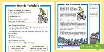 KS1 Tour de Yorkshire Fact File - Tour De Yorkshire, Yorkshire, Tour De France, Bicycle, Bike, Cycle, Cyclist, Competition, Rider, Rid