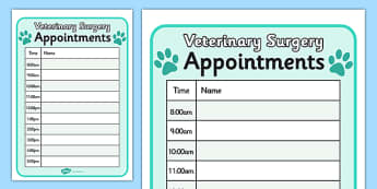 Vets Surgery Pet Appointments Form - Vets, vet, vet role play, pet, pets, pet appointment, appointments, form, animal information, vet, operation, xray, nurse, medicine, vaccine, bandage, cat, dog, rabbit