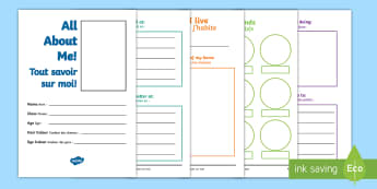 All about me Activity Booklet English/French - transition, key stage 1, Year 1, Year 2, end of term, new starter, tranistion, all bout me, tranitio