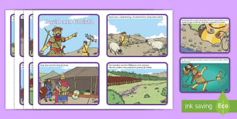 David and Goliath Sequencing Cards - Bible, Biblical, KS2, Key Stage Two, Story, Sequence, Order, Activity