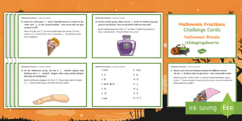 Halloween Fractions Challenge Cards English/Afrikaans - Year 5, Y5, challenge, maths, numeracy, number, EAL