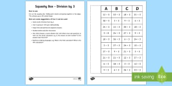 Squashy Boxes Division by 3 - Mental Maths Warm Up + Revision - Northern Ireland, squashy boxes, division, divide by 3.