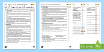 AQA Physics Unit 4.7 Magnetism and Electromagnetism Student Progress Sheet - Student Progress Sheets, AQA, RAG sheet, Unit 4.7 Magnetism and Electromagnetism.