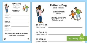 Father's Day Simile Poem Card Template English/Romanian - Father\'s Day Simile Poem Card - fathers day, simile, poem, card, similie, tempelte, templet, EAL