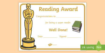 Reading Award Certificate - reading certificate, certificates, reward, awards, award, rewards,