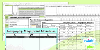 Geography: Magnificent Mountains Year 5 Unit Assessment Pack