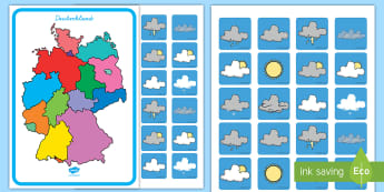 Wetterbericht Rollenspiel: Materialsammlung-German - Wetter, Klima, Niederschläge, Sonne, Sonnenschein, Temperatur, Sachkunde, ,German