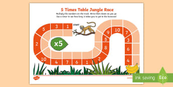5 Time Table Jungle Race Game Activity Sheet - Requests KS1, multiplication, times tables, 5 times table, 5 x table, repeated addition, race, maths