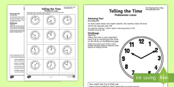 Telling the Time Activity Sheet English/Polish - Amazing Fact Of The Day, activity sheets, powerpoint, starter, morning activity, February, telling t