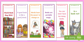 World Book Day Editable Bookmarks - reading, book, enjoy, colouring in, design