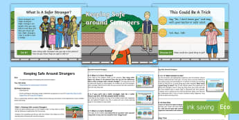 Keeping Safe around Strangers Assembly Pack - stranger danger, safer buildings, PSHE, safeguarding, lost, safety