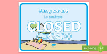 * NEW * Travel Agents Closed Sign Role-Play Signs - English / Spanish  - Travel Agents Closed Sign - Travel agent, holiday, travel, role play, open, closed, Opening Times, o