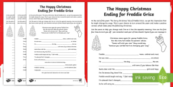 KS2 The Happy Christmas Ending for Freddie Grice Poetry Writing Differentiated Activity Sheets - Christmas, Poem, Poetry, rhyme, rhyming couplets, Holidays, Winter, snow, worksheet