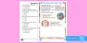 KS1 April Fools' Day Differentiated Comprehension Go Respond Activity Sheets - EYFS/KS1 April Fools Day (1st April),April Fools Day, April Fools' Day, KS1, Y1, Y2, Year 1, Year 2